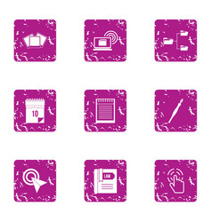 Branched information icons set grunge style vector