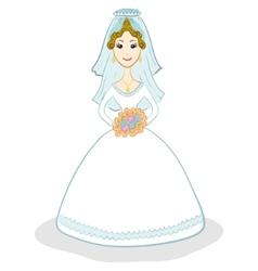 Bride in wedding dress vector