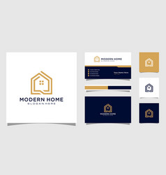 Build house logo with line art style home vector