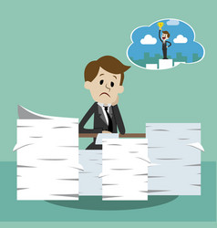 business man working and dreaming about success vector image