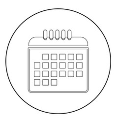 Calendar the black color icon in circle or round vector