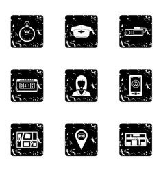 Call taxi icons set grunge style vector