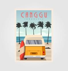 canggu beach with vintage car background design vector image