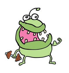 Cartoon green monster keeps a dumbbell vector