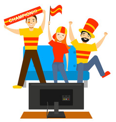 cartoon sport fans people in front of tv vector image