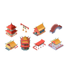 chinese ethnic buildings isometric set asian vector image