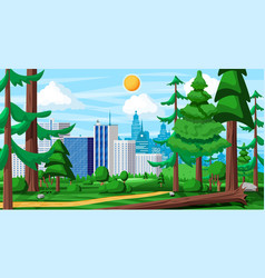 city park concept urban forest panorama vector image