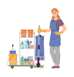 Cleaner staff with trolley full detergents vector