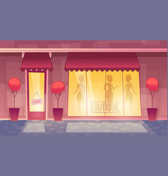 closed cartoon boutique with illuminated vector image