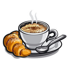 Coffee cappuchino with croissant vector