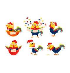 collection roosters with bright plumage in vector image
