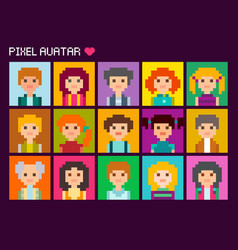 Cute square pixel avatars vector