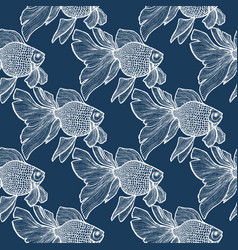 dark goldlfish pattern in hand-drawn style vector image