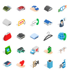 Depot icons set isometric style vector