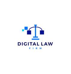 Digital law scales of justice logo icon vector