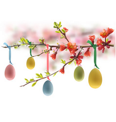easter eggs hanging on flowering branch vector image