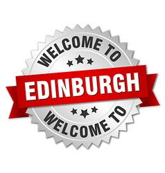 Edinburgh 3d silver badge with red ribbon vector