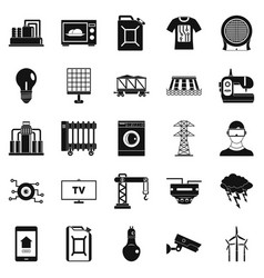 electrician icons set simple style vector image