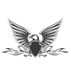 engraving eagle emblem vector image