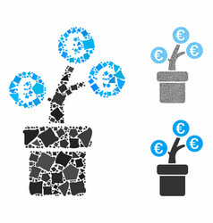 euro tree pot composition icon trembly items vector image