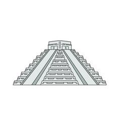 famous tourist landmark - mayan pyramid sketch vector image