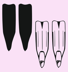 Flippers for diving vector