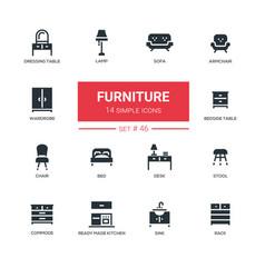 Furniture - line design icons set vector