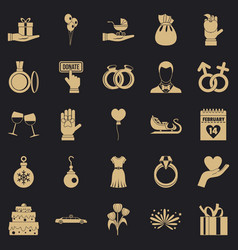 Gift icons set simple style vector