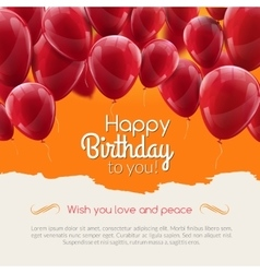 Happy birthday card with red balloons vector