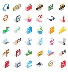 Headphones icons set isometric style vector