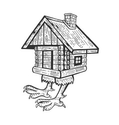 hut on chicken legs engraving style vector image