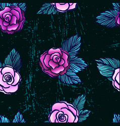 ink hand drawn seamless pattern with pink roses vector image