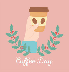 international day coffee hand holding vector image