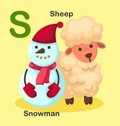 Isolated animal alphabet letter s-snowman sheep vector