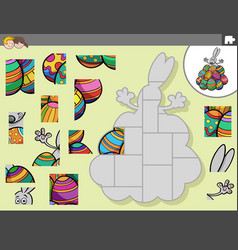 Jigsaw puzzle game with easter bunny and eggs vector