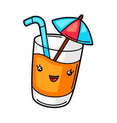 Kawaii cute cocktail vector