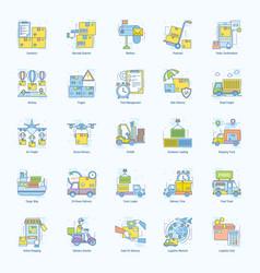 Logistics concept line flat icons pack vector