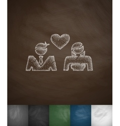 lovers icon Hand drawn vector image