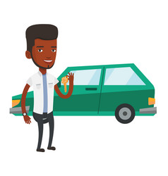 Man holding keys to his new car vector