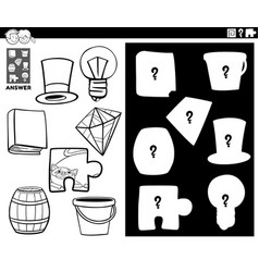 Matching shapes game with objects color book vector