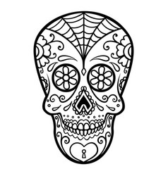 Mexican sugar skull day of the dead dia de los vector