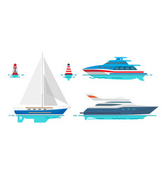Modern motor yachts and white sailboat on water vector