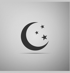 Moon and stars icon isolated on grey background vector