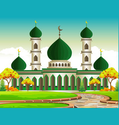 Mosque in autumn with apple trees vector