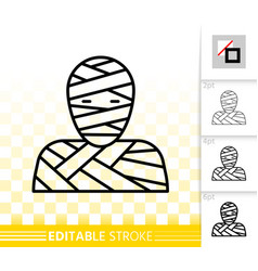 mummy mask simple black line icon vector image