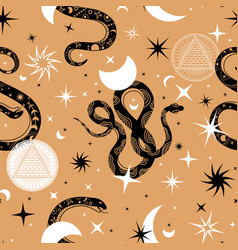 Mystic snakes seamless pattern print with snake vector