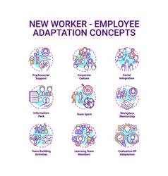 New employee adaptation concepts icons set vector