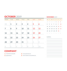 october 2019 week starts on monday calendar vector image
