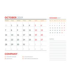 October 2019 week starts on monday calendar vector