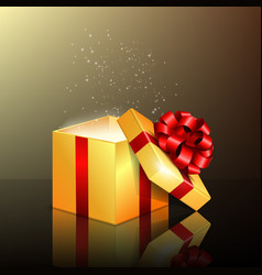 Opened gift box with red ribbon vector